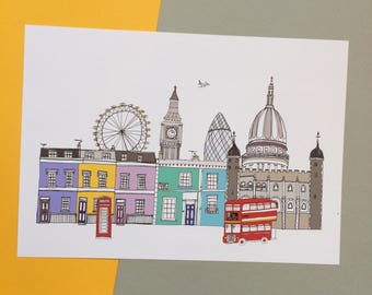 London Skyline Print A4  - London Landmarks - London Cityscape - New Home Gift - London Wedding Gift - Engagement Gift