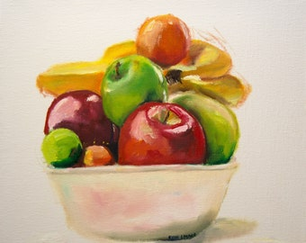 Bowl Of Fruit Oil Painting - Still Life Painting - Painting of Fruit - Still Life wall art - Bright Painting - fresh painting