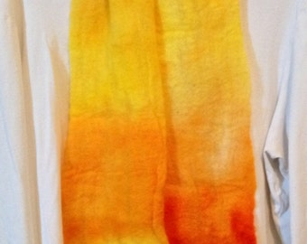 Hand felted scarf in cobweb design, merino wool scarf, hand-dyed orange and yellow light weight scarf, all natural earthy spring design