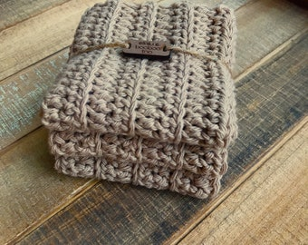 Cotton Washcloth / Dishcloth Set of 3 in Taupe