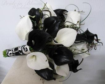 Black & White Calla lily Bouquet ~ Damask Wedding bouquet