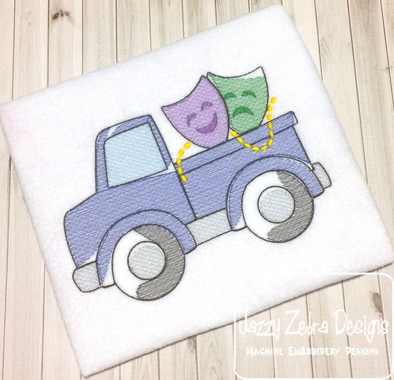 Truck with Mardi Gras Mask Sketch Embroidery Design - truck Sketch Embroidery Design - boy Sketch Embroidery Design - mardi gras Sketch