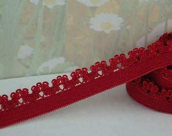 """5yds Elastic Picot Lace Stretch Red Skinny 1/2"""" inch scalloped edge Picot Edging Headbands Sewing lingerie Underwear Elastic Trim"""