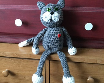 Crochet Cat - Be My Friend - adorable kitty in grey with white paws