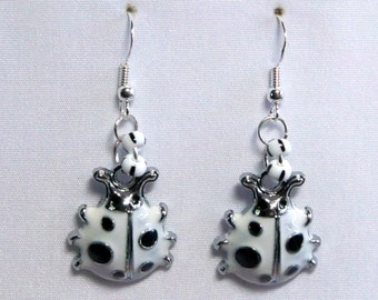 Ladybug white enameled 3D earrings one sided on silver black white glass accent on 925 Sterling Silver wires E121