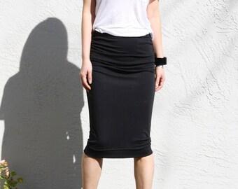 Black Midi Skirt / Ruched Skirt / Pencil Skirt / Straight Skirt / Jersey Skirt / Knee Length Skirt / Office Skirt / Elastic Waist Skirt