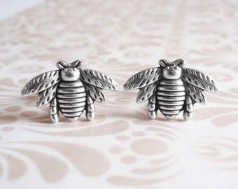 Silver bee cufflinks. Silver bee cuff links. Groomsmen gift. Fathers day gift for him,