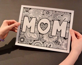 Mother's Day Coloring Page, Coloring Book Page, Printable Adult Coloring, Handdrawn, Inspirational Doodle, Art Therapy, Instant Download Pri