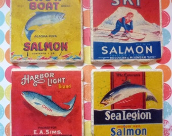 Marble coasters - old fish labels