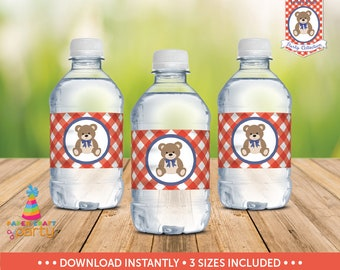 Teddy Bear Picnic Water Bottle Labels - Teddy Bear Drink Wraps -  Instant Download TB11