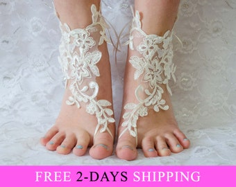 Barefoot Wedding Sandals, Coupon Code Free Shipping, bridal accessories, barefoot sandles, lace barefoot sandals 07