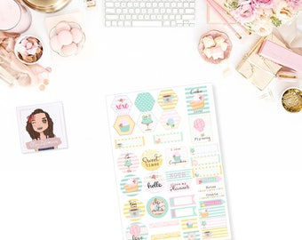 Tea Party Printable Planner Stickers Planner Accessories Planner Downloads Scrapbooking Stickers PenPal Stickers Stationery
