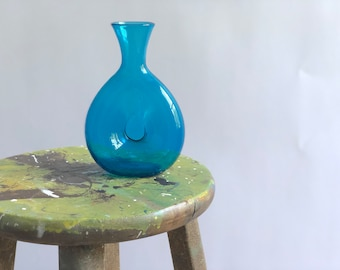 Vintage Turquois Blue Glass Carafe, Blue Glass Decanter, Pinch Glass