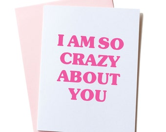 First Anniversary Card, Paper Anniversary Card, for Her, for Him, 1 year anniversary, Love Card, Valentine Card, I'm So Crazy About You Card