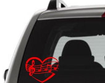 Heart Music Decal, Heart Music Sticker, Heart Music Window Decal, Heart Music, I Love Music Sticker, I Love Music Decal, Choir Student Decal