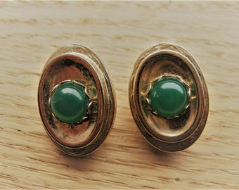 vintage 1950's Whiting & Davis CO Faux Green Jade, Peking Glass Clip back Earrings, Large and Bold!