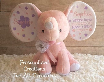 Pink Elephant Plush Birth announcement - Any Occasion - Boy/Girl/Neutral