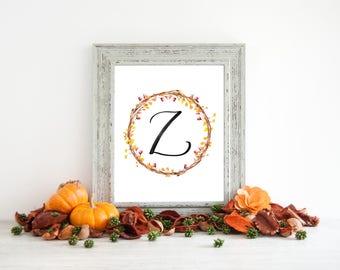 Digital Download - Monogram letter Z print - Letter Print - Floral Monogram - Initial Print - Wreath Initial Print - Letter Z print - Wreath