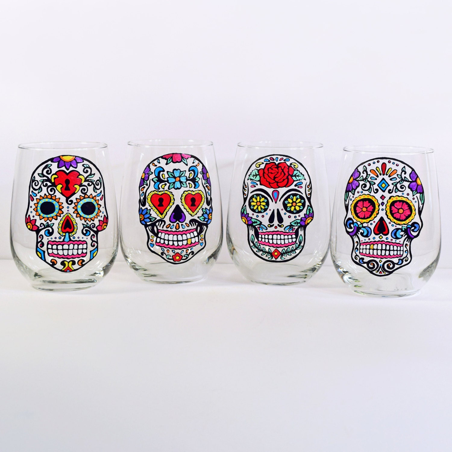 Sugar Skull Stemless Wine Glasses Hand Painted Glass Sugar