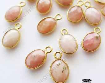 4 pcs 8mm x 6mm Pink Opal Oval Drops Gold Bezel Charms F524