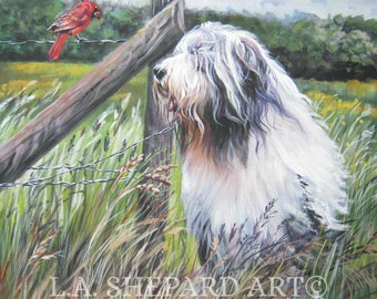 Bearded Collie dog art CANVAS print of LA Shepard painting 8x8
