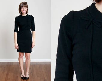 1960s Black Bow Dress - Vintage - Mad Men - 100% Cotton - Cleveland, OH - A-Line - Wiggle Dress - S