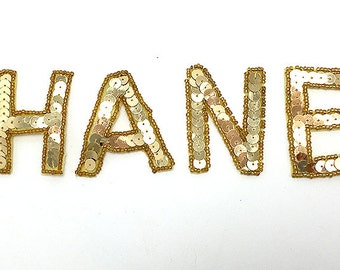 """Chanel Applique, Sequin Beaded Unattached Gold Letters  2"""" -B080"""