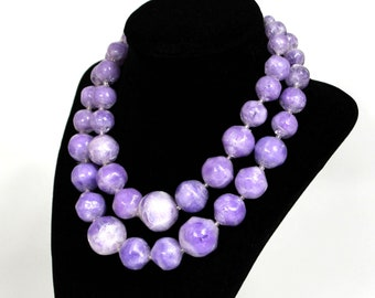 Pretty VIntage 1960s Transulcent Purple Acrylic Beaded Necklace West Germany Clasp Double Strand