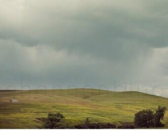 hills landscape photography / gray skies, grey clouds, rolling hills, summer storm / hills / 8x8 fine art nature photograph