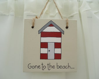 Handmade 'Gone to the beach' wooden plaque