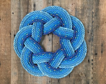 Ocean Blues Rope Wreath, Upcycled lobster rope, Maine made, Nautical door decor, Blue wreath, Beach house designs
