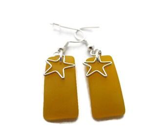 Yellow Earrings, Yellow Beach Glass Earrings, Yellow Dangles, Yellow Sea Glass Earrings, Golden Yellow Earrings, Star Earrings, Recycled