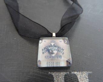 OUIJA Board  Glass Tile Necklace (Black Organza)
