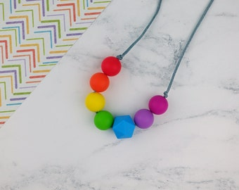 Rainbow Teething Necklace for Mum, Nursing Necklace, Breastfeeding Aid, Rainbow Jewellery, Silicone Teething Beads, Sensory Necklace