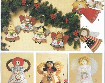 Vintage 1991 Simplicity 7549 Angel Tree Topper Or Standing Decoration & Ornaments In Two Sizes UNCUT