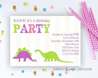 SALE Dinosaur Birthday Invitation 5x7  DIGITAL file Dinosaur Theme