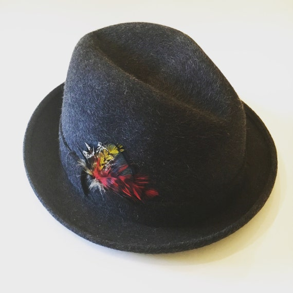 Vintage Black/Gray Wool Fedora - Ripley Premier Quality Hats - Unisex Fedora Hat with Feather Detail