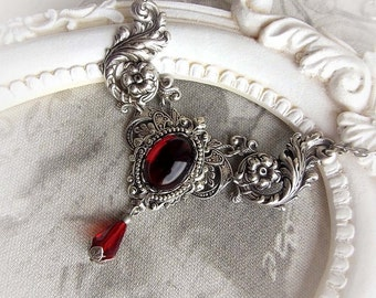 Red garnet gothic necklace deep red jewel choker victorian baroque necklace floral ornate red stone bridal choker bridesmaid necklace