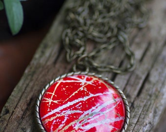 Red Silver and Gold - Large Pendant Necklace or Keychain - Chiyogami - Japanese Paper Necklace - Red Pendant Free Shipping Paper Anniversary