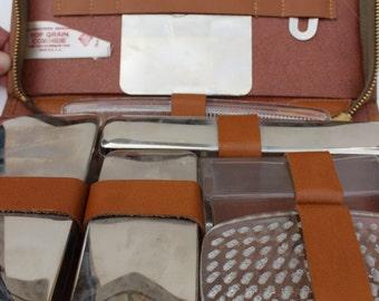 Vintage Mens Travel Kit Shaving Kit Leather SD Antique Manscaping Kit Vintage Mens Grooming Kit