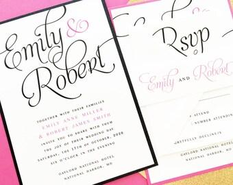 Wedding Invitation, Invite, Suite, Set, Custom Colors, Calligraphy, Classic, Elegant | PRINTED SAMPLE