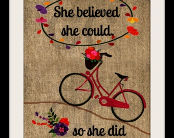 Burlap Print, She Believed She Could, Inspiration Quote