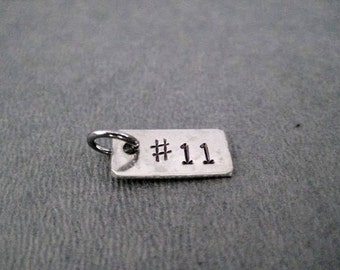 ONE (1) NUMBER Charm Only - Hand Hammered Nickel Silver Pendant - Race Bib - Sports Number - Football Jersey Number - Athlete Jersey Number