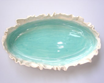 Aqua Serving Dish with ruffle edge