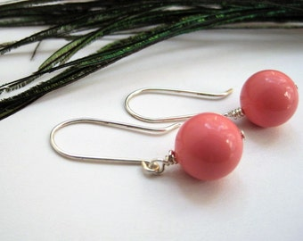 Pink Riverstone & Sterling Silver Ball Earrings