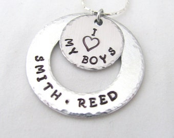 Personalized I Love My Boys, Girls Washer Necklace with Names, Charms