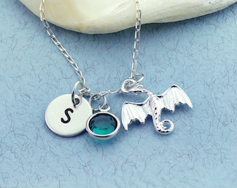 Sterling Silver Dragon Charm Necklace, Personalised, Initial Jewellery, Flying Dragon, Dragon Jewellery, Birthstone Charm, Fairy Tale Gift