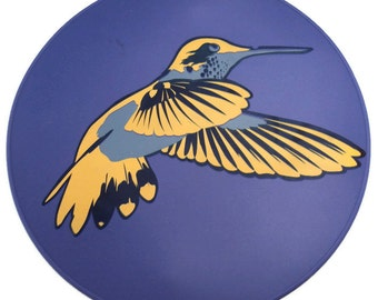 Lavender Hummingbird Silicone Table Trivet, Kitchen Hot Pad, Table Placemat