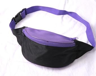 80s 90s bum bag, black purple fanny pack