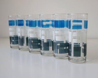 1960s abstract geometric drinking glasses / slim jim tumblers by Tropicana. In original box.